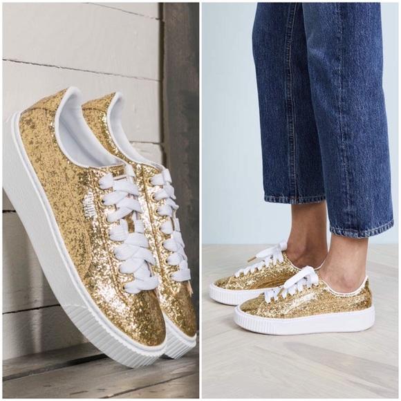 04bbb13d935b6d Puma Basket Platform Gold Glitter Sneakers